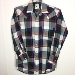 Roper Mens Plaid Western Pearl Snaps Shirt Size 16